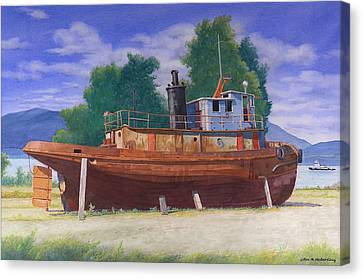 Antiquated Hudson River Tug Canvas Print by Glen Heberling