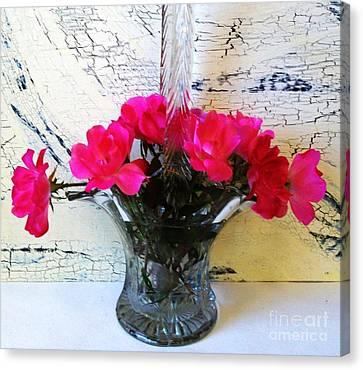 Antique Crystal Basket Of Roses Canvas Print by Marsha Heiken