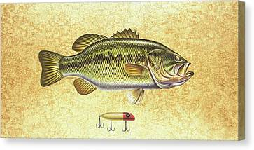 Antique Lure And Bass Canvas Print by JQ Licensing