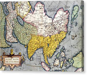 Antique Map Of Asia Canvas Print by Claes Jansz