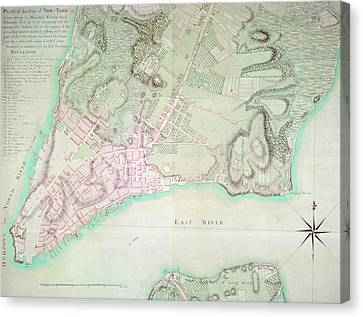 Antique Map Of New York Canvas Print by English School