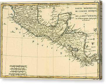 Antique Map Of Southern Mexico Canvas Print by Guillaume Raynal