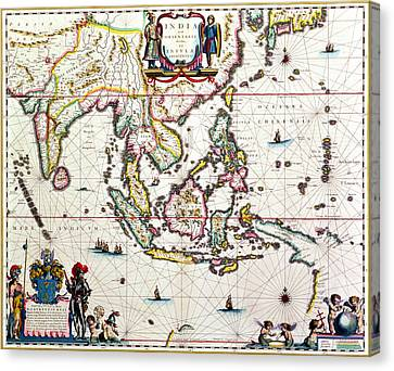 Antique Map Showing Southeast Asia And The East Indies Canvas Print by Willem Blaeu