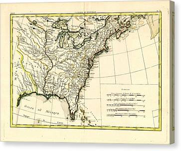 Antique Se United States Map Canvas Print by Unknown