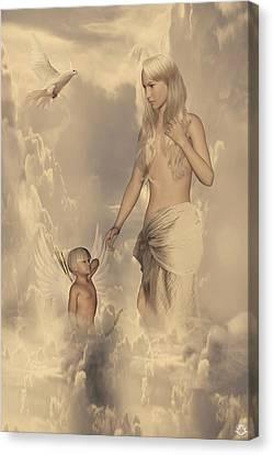 Aphrodite And Eros Canvas Print by Lourry Legarde