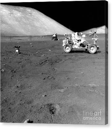Apollo 17 Image Of Land Rover On Moon Canvas Print by Stocktrek Images