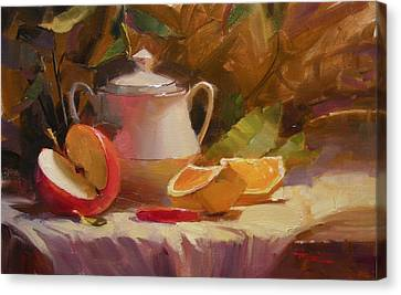 Apple And Orange Canvas Print by Richard Robinson