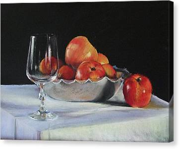 Apples And Wineglass Canvas Print by Diane Breuer