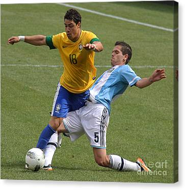 Argentina Vs Brazil Battle II Canvas Print by Lee Dos Santos