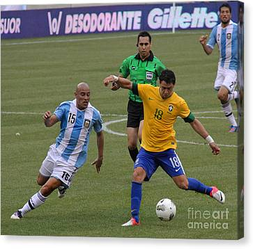 Argentina Vs Brazil Battle Canvas Print by Lee Dos Santos