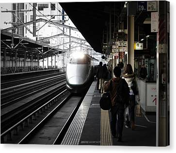 Arriving Train Canvas Print by Naxart Studio