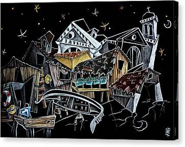 Art Night Design Original Drawing -  Gondola Squero San Trovaso Venezia Italia Canvas Print by Arte Venezia