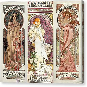 Art Noveau By Alfonse Mucha Collage Canvas Print by Don Struke
