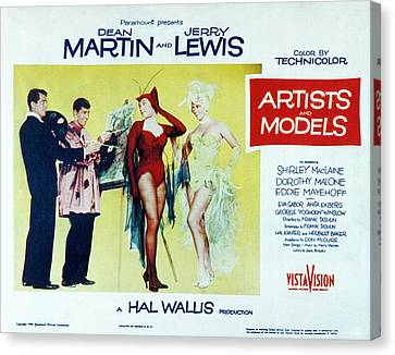 Artists And Models, Dean Martin, Jerry Canvas Print by Everett