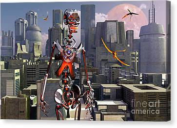 Artists Concept Of A City Of The Future Canvas Print by Mark Stevenson