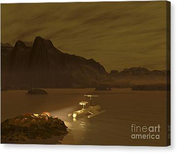 Artists Concept Of A Robotic Probe Canvas Print by Walter Myers