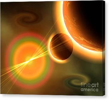 Artists Concept Of A Solar Storm Canvas Print by Mark Stevenson