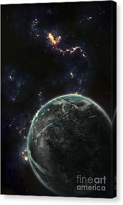Artists Concept Of A Terrestrial Planet Canvas Print by Tomasz Dabrowski