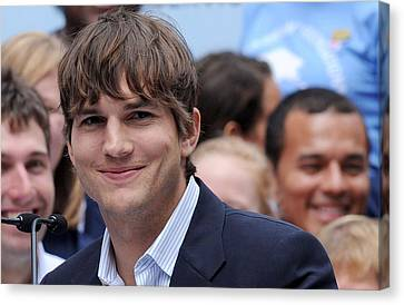 Ashton Kutcher At The Press Conference Canvas Print by Everett