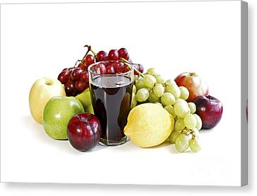 Assorted Fruits On White Canvas Print by Elena Elisseeva