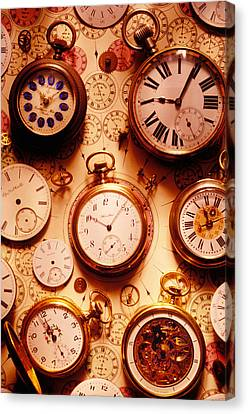 Assorted Watches On Time Chart Canvas Print by Garry Gay