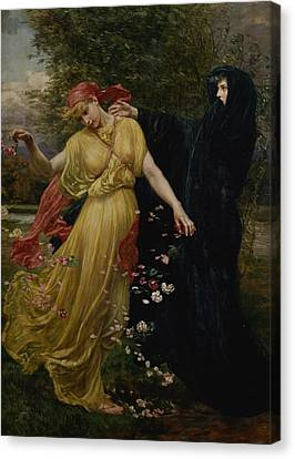 At The First Touch Of Winter Summer Fades Away Canvas Print by Valentine Cameron Prinsep