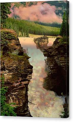 Athabasca Falls Evening Canvas Print by Shirley Sirois