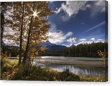 Athabasca River With Mount Fryatt Canvas Print by Dan Jurak