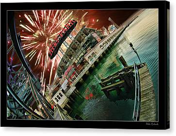 Att Park And Fire Works Canvas Print by Blake Richards