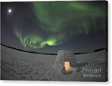 Aurora Borealis Over An Igloo On Walsh Canvas Print by Jiri Hermann