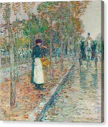 Autumn Boulevard In Paris Canvas Print by Childe Hassam
