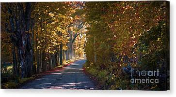 Autumn Country Road - Oil Canvas Print by Edward Fielding