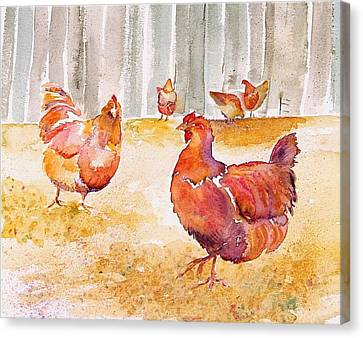 Autumn Hens Canvas Print by Carolyn Doe