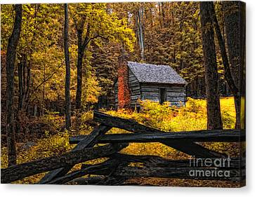 Autumn In The Smokies Canvas Print by Gina Cormier