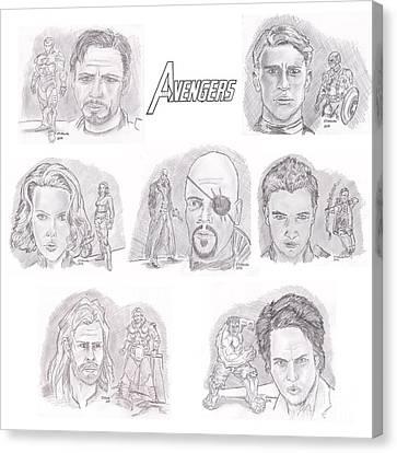 Avengers Team Canvas Print by Chris  DelVecchio