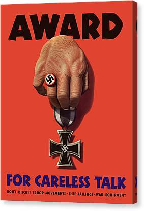 Award For Careless Talk - Ww2 Canvas Print by War Is Hell Store