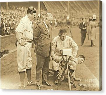 Babe Ruth Studies The Roster Canvas Print by Padre Art