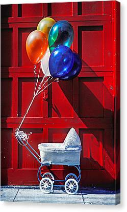 Baby Buggy With Balloons  Canvas Print by Garry Gay