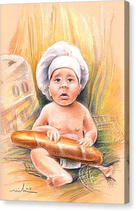Baby Cook With Baguette Canvas Print by Miki De Goodaboom
