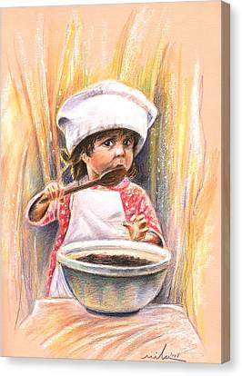 Baby Cook With Chocolade Cream Canvas Print by Miki De Goodaboom