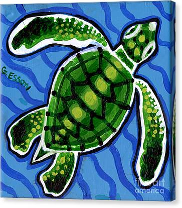 Baby Green Sea Turtle Canvas Print by Genevieve Esson