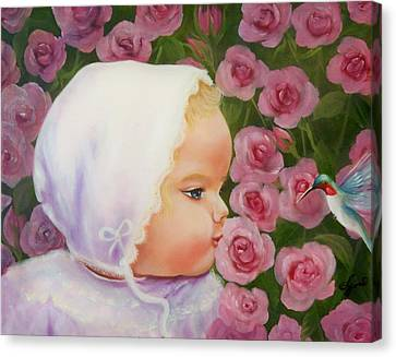 Baby Meets Hummingbird Canvas Print by Joni McPherson