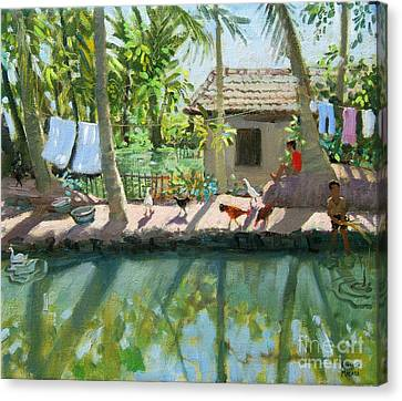 Backwaters India  Canvas Print by Andrew Macara