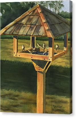 Backyard Birdie Bistro Canvas Print by Marsha Elliott