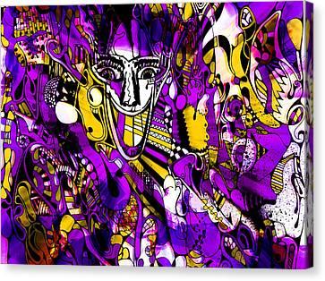 Bad Monday - Ironic Laugh -  Purple-yellow  Canvas Print by JL Eichers