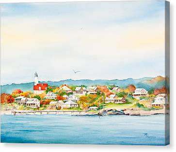 Bakers Island Lighthouse In Autumn Watercolor Painting Canvas Print by Michelle Wiarda