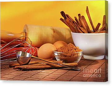Baking Ingredients Canvas Print by Sandra Cunningham