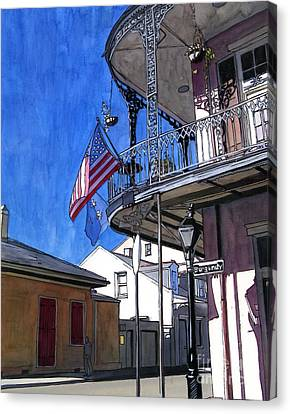 Balcony With American Flag Canvas Print by John Boles