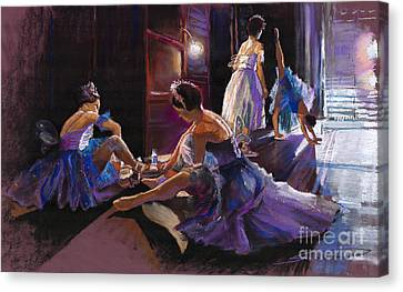 Ballet Behind The Scenes Canvas Print by Yuriy  Shevchuk