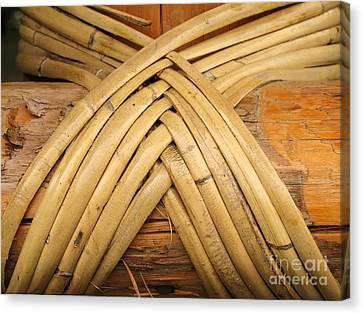 Bamboo And Wood Construction Canvas Print by Yali Shi